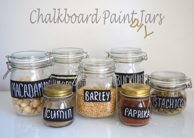 Chalkboard paint jars